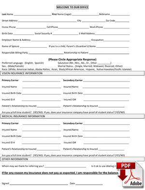 Eye Doctor Patient Insurance Form